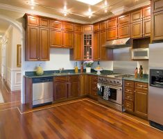 fabulous kitchen remodelling wood cabinet and dark hardwood l shape