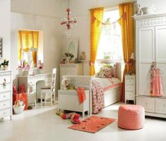 fabulous white bedroom furniture for girls with yellow curtain