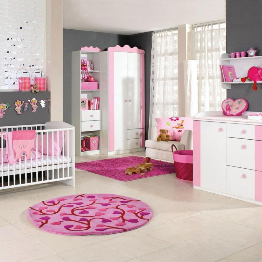 fabulous-nice-baby-girl-rooms-grey-and-pink-theme-colors-with-pink-and-white-nursery-baby-furnitures