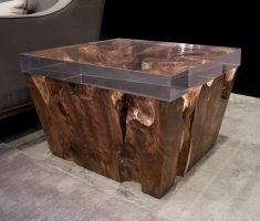 fabulous reclaimed recycled wood furniture with bold thick glass table