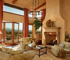 fabulous tuscan style home interior living room with fireplace