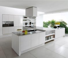 fabulous white ultra modern kitchen with landing kitchen with book shelve and cabinet