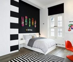 fancy black and white bedroom for small space for boys