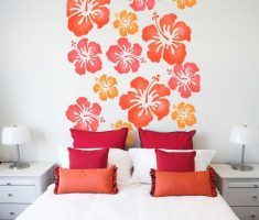 flowers orange and red wall stickers girls bedrooms white theme colors