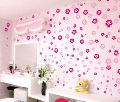 flowers pink pattern wall stickers girls bedrooms