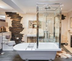 freestanding bathtubs with shower with vintage wall decor
