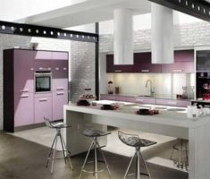 glamaour cabinet kitchen design pink purple and white theme