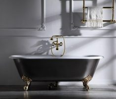 gold freestanding clawfoot with black bathtubs