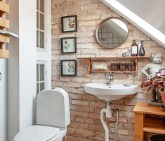 gorgeous small bathroom remodelling on attic with brick wall