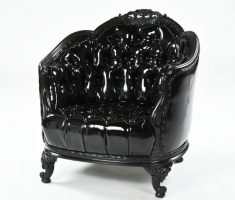 gothic black leather sofa lined with plastic