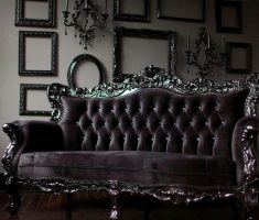gothic black leather sofa with black dark red theme color