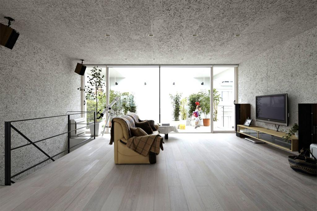 Grey laminate flooring living room for minimalist interior for Minimalist flooring