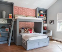 grey theme for boy room ideas with bunk beds with shelves cabinet