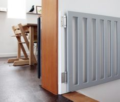 grey wooden diy baby gates for stairs