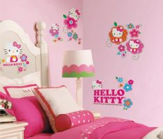 hello kitty wall stickers girls bedrooms pink theme