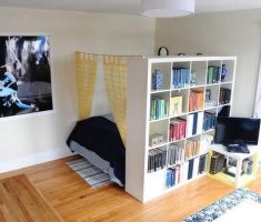 interesting-small-space-decoration-with-bedroom-and-cabinet-book-shelve