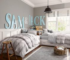 l shape shared kids bedroom grey theme for boy
