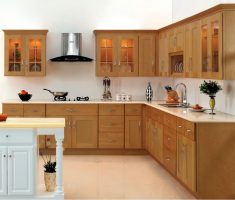 l shaped wooden cabinet kitchen design with glass