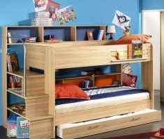 light wooden boy room ideas with bunk beds