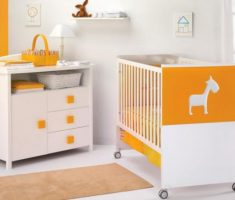 lovely white orange theme baby nursery furniture by cambarss