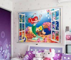 lttle mermaid wall stickers girls bedrooms with hello kitty dols