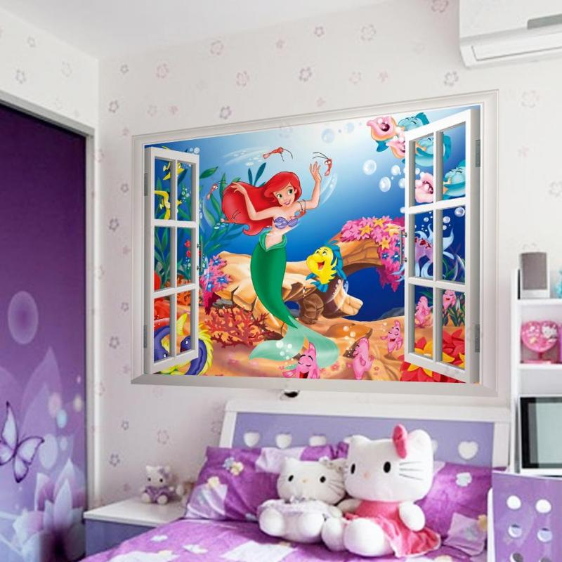 lttle-mermaid-wall-stickers-girls-bedrooms-with-hello-kitty-dols