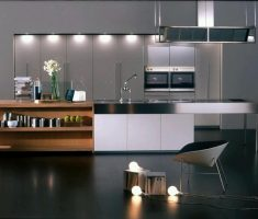lux ultra modern kitchen with appliance and shelves kitchen island