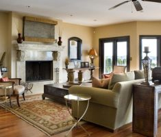 mediterranean style homes interior with fireplace