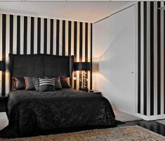 minimalist black bedroom decorating ideas with black and white stripped wall decor