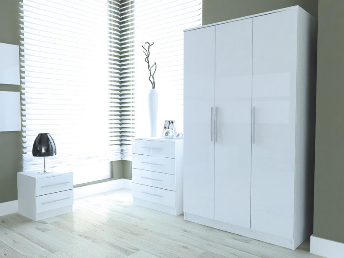 Minimalist Gloss White Bedroom Furniture For Decorations
