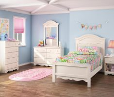 minimalist white bedroom furniture for girls with blue light wall decor