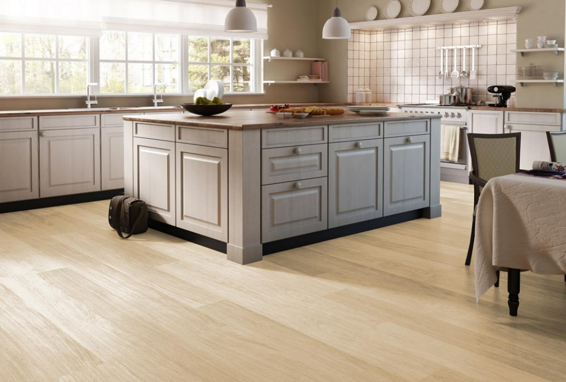 Minimalist light laminate flooring kitchen home inspiring for Minimalist flooring