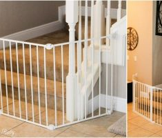 minimalist white baby gates for stairs with no walls