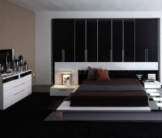 moder minimalist black and white bedroom