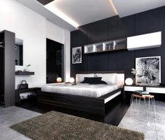 modern black bedroom decorating ideas with white and grey theme color decor