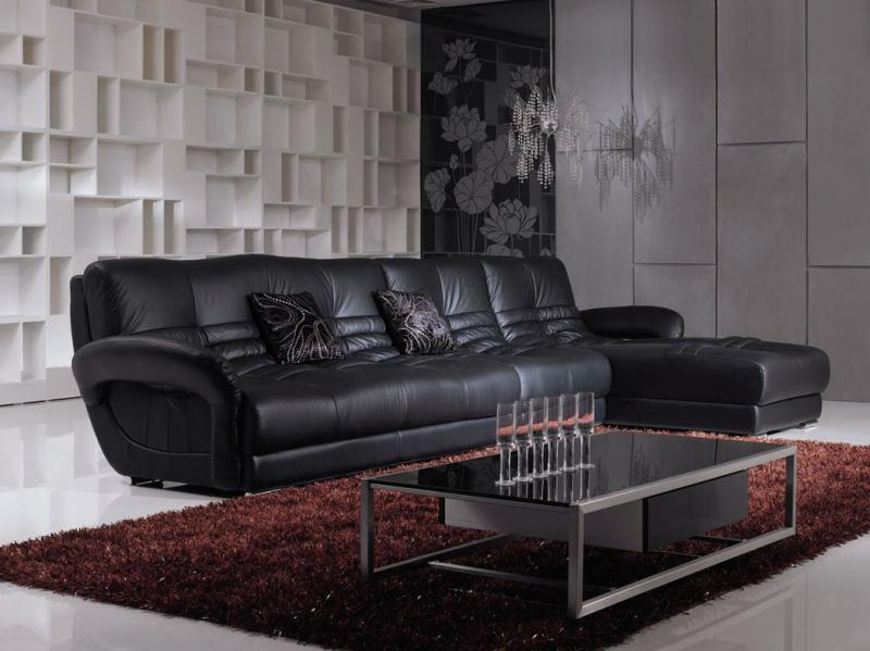 Modern Black Leather Sofa For Black Living Room Theme Home Inspiring