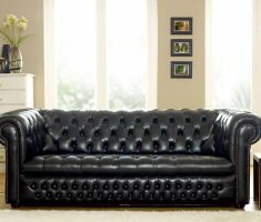 modern black leather sofa tufted style