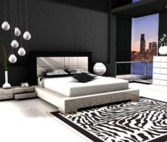 modern black and white bedroom apartment with zebra rug