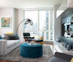 modern feng shui style of interior design living room and rest area whie and blue colors theme
