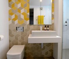 modern small bathroom remodelling with hexagon patter wall decor