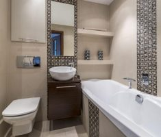 modern small bathroom remodelling with modern mosaic wall tile and floor