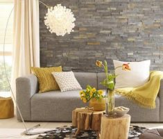modern small space decoration with brick stone wall and wooden raw table
