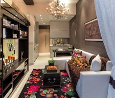 modern-small-space-decoration-with-modern-chandelier-and-white-sofa-and-colors-floral-flowers-carpet