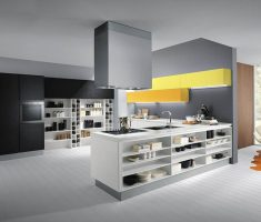 modern ultra modern kitchen with white and grey theme with island cabinet shelves