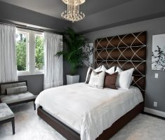 modern and creative brown headboard bedroom ideas with gold diamond chandeliers