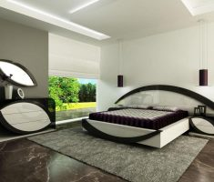 modern and futuristic mirrored headboard bedroom set for modern bedroom set