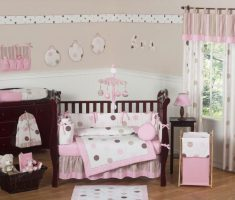 modern baby girl rooms pink and brown with pink dots curtain decor