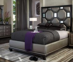 modern black cushion headboard bedroom sets with mirrored headboard
