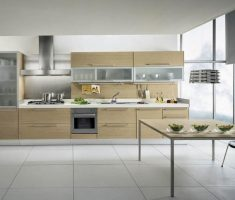 modern cabinet kitchen design for apartment with glass