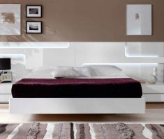 modern floating white bedroom with gloss white bedroom furniture